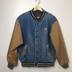 Vintage Denim Bomber Varsity Jacket